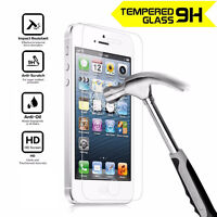 100% Genuine Tempered Glass Front Screen Protector fit for Apple iPhone 5 5S SE