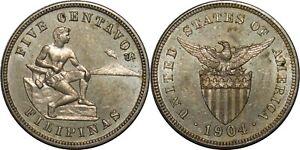 1904 US/Philippines 5 Centavos ~ UNC ~ Allen#4.02 ~ MX821