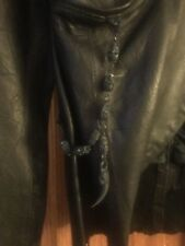 Jaded By Knight Womens S Leather Jacket Blazer Skull Chain Trim Lapel, Rzr Cut.