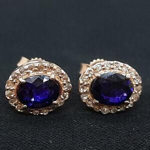 $1399 Genuine 1.40ctw Sapphire & H-SI Diamond Solid 14K Rose Gold Stud Earrings