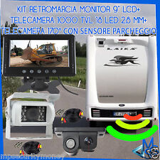 KIT RETROMARCIA CAMPER TELECAMERA 1000TVL LED RETROCAMERA 170° SENS. PARCHEGGIO