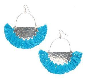 Turquoise Silver Boho Tassel earrings Fringe Bohemian Dangle Earrings Fan