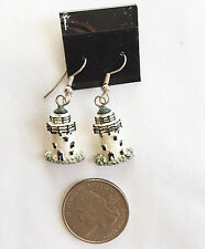Lighthouse Resin Charm Dangle Earrings Handmade White with Black Detail