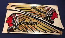 LOT OF TWO RARE ORIGINAL INDIAN MOTORCYCLE CIRCA 1940S WATER TANK DECALS WARRIOR