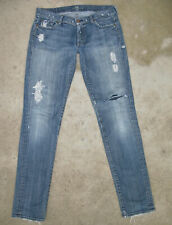 7 For all Mankind Roxanne Skinny Jeans Sz 31 Distressed w Patches L33