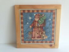 "Vintage Christmas Santa TRIVET Ceramic Tile 6"" Sq With Wood Frame 7.5"" Sq Decor."