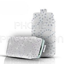 Diamante Bling piel lengüeta Piel Funda Bolsa Se Adapta A Varios Teléfonos Nokia
