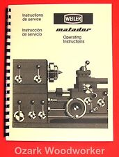 WEILER Matador Lathes Models W and VS Operating Instruction and Part Manual 1030