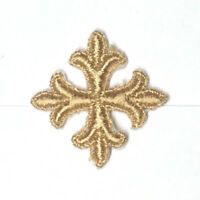 """Vintage French Cross Embroidery 1"""" Sew-on Gold C230 Emblem Patch 12 Pieces"""