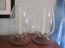 David Douglas Mid Century Modern Hurricane Lamps with Walnut Bases