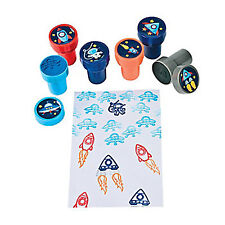 OUTER SPACE PARTY Rocket and Space Stamps Stampers Great Party Favours Pack of 6