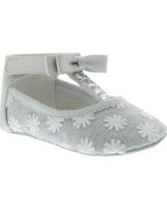 NIB Badgley Mischka Shoes Ballet Flats Baby Bow Tie Gray 2