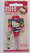 Hello Kitty House Key Blank-rainbow-painting pink blue yellow white -WR3/WR5