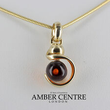 Italian Made Modern Cognac Baltic Amber Pendant in 9ct Gold  GP0013 RRP£120!!!