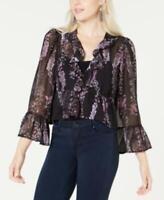 MSRP $60 Bar Iii Ruffled Bell-Sleeve Blouse, Size M Black Purple