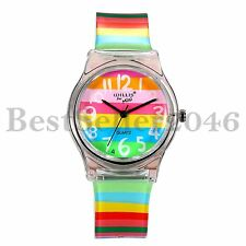 Fashion Rainbow Silicone Transparent Womens Mens Kids Quartz Analog Wrist Watch