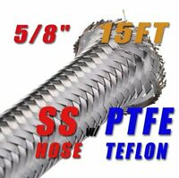 """5/8"""" 16MM STAINLESS STEEL  BRAIDED PTFE FUEL HOSE LINE OIL PETROL - 15FT"""