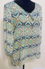 Maurices Blouse Size Medium Sheer High Low Boho Cut Out 3/4 Sleeve Geometric