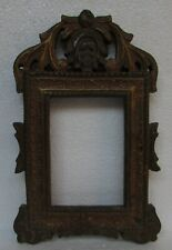 Vintage Old Hand Carved Unique Shape Painted Wooden Picture Photo Frame