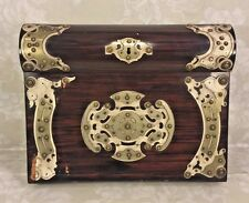 Antique English Lap Top Desk Applied Metal Decoration Top Opens to Compartment