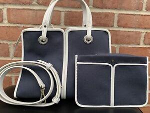 Kate Spade Sam Canvas Plunge Satchel Blazer Blue Medium Cute Bag New Without Tag