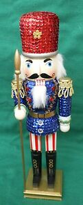 SHINODA NUTCRACKER SEQUIN WOODEN SOLDIER WITH RED HAT & SPEAR 15' TALL