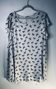 NEWEvan Plus Size 26/28 White Black  Zebra 🦓Print Tunic TOp