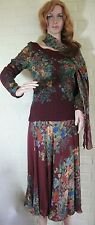 JUDY HORNBY ELEGANT VINTAGE WINE & FLORAL SKIRT, TOP, SCARF 3-PIECES  New ~ Tag
