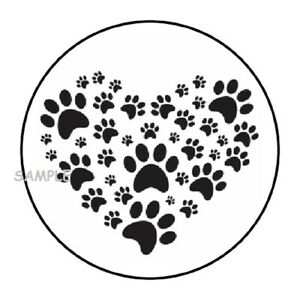 """30 PAW PRINT HEART ENVELOPE SEALS LABELS STICKERS 1.5"""" ROUND ANIMALS PAWS DOG"""