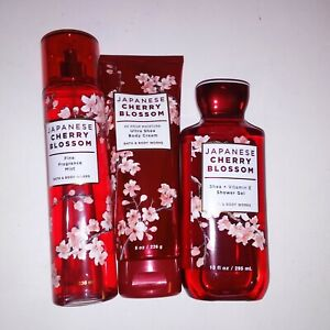 Set of 3 Bath and Body Works Japanese Cherry Blossom Cream Fragrance Spray Gel