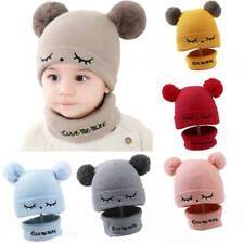 Toddler Kids Girl&Boy Baby Infant Winter Hat With Scarf Crochet Knit Cap Beanie