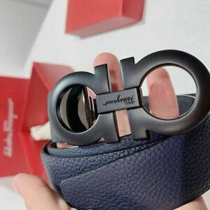 Men's Salvatore Ferragamo Black Tumbled Leather Buckle Belt
