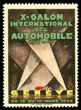 Switzerland Poster Stamp - 1933 Automobile Exhibition, Geneva - Henri Fehr