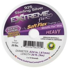 Soft Flex Wire Extreme 925 Sterling Silver .024, 30 ft,19 Strands,0.60mm - FT493