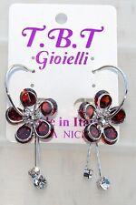 TOP FASHION Orecchini con cristalli da Donna,cerchio argento Fiore rosso