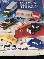 "Asn ""Cars & Trucks"" Plastic Canvas Pattern #3091 Leaflet Book Race Car Bug Gas"