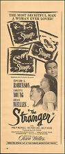 """Vintage Ad for """"The Stranger"""" Orson Welles, Loretta Young (071115)"""