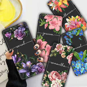 Personalised NAME VINTAGE FLOWERS WALLET Phone Case Cover For iPhone & Samsung