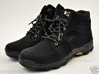 Men's Black Hiking Winter Work Boots Shoes Genuine Leather Slip Resistant 1001