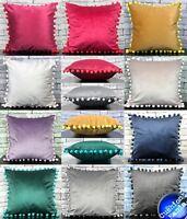 "Cushion Cover or Cushion Filled Plush Plain Velvet Large pom poms 17""x17"""
