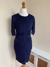 WHISTLES NAVY BLUE Animal Print Bodycon Silk Zip Back Short Sleeve Dress  UK 10