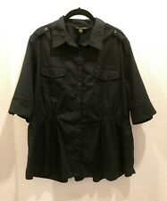 ROCAWEAR Size 2X Black Short Sleeved Button Front Blouse Gathered Waist