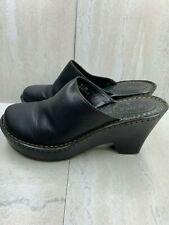 Born Women's Clogs Black leather shoes mule wedge heel slip on slides Sz. 8