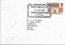 """GB SPECIAL CANCEL COVER """"STAMPLINK 86"""" 18/6/86 PORTSMOUTH ON SG 1327."""