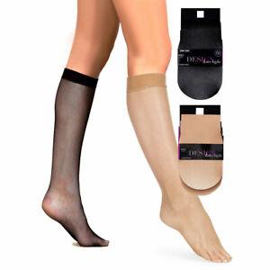 M&S 2 PAIRS Ladies Womens Fish Net Knee Highs Pop Socks Hosiery One Size Black