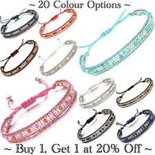 Bracelet Anklet Ankle Silver Adjustable Beaded Boho Cotton Cord Jewellery Beads