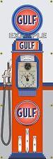 ANTIQUE RETRO OLD GULF GAS PUMP GAS STATION BANNER GARAGE ART SIGN LARGE 2' X 6'