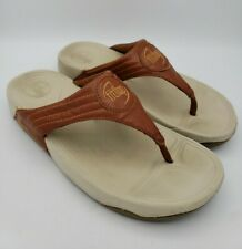 Fitflop Walkstar Thong Sandal Flip Flop Brown Leather Fitness Sport Women Size 9