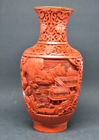 Vintage Chinese Cinnabar Vase ~ 7.75 Inches tall~🐘