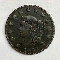 1821 Large Cent 1C Fine+